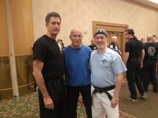 Me (right) with GM Superfoot Wallace (center)  and Master Ramon Voils