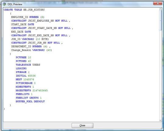 Example of DDL script in Preview Window