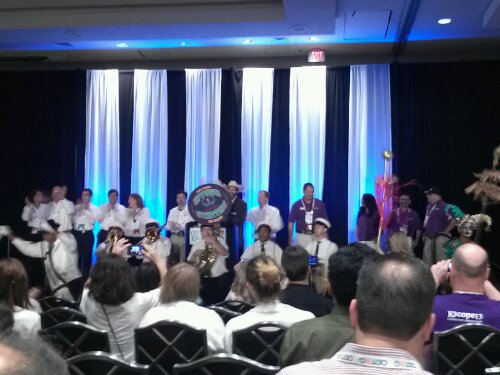 The general session gets opened with the board and conference committee being lead on stage marching/dancing behind a live New Orleans Marching Jazz Band