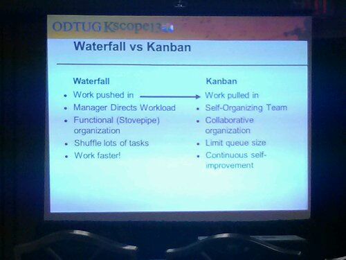 A simple comparison of aspects of a traditional waterfall methodology compared to the Kanban approach.
