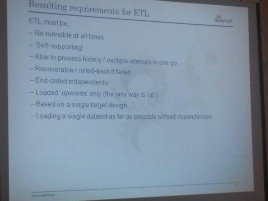 Characteristics of ETL for Data Vault